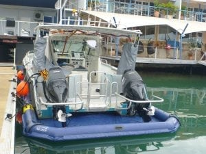The rear of Rick's dive boat